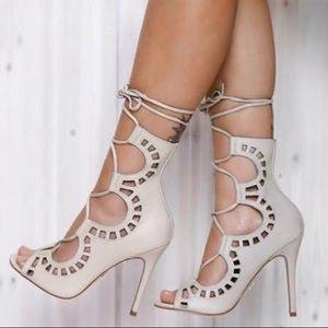 Windsor Smith Gillie tie up peep toe shoes Bone 5